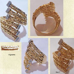 IMPERIAL GOLD 14K Foxtail Bypass Band Ring. Size 7